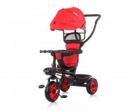 Детска триколка с родителски контрол и със сенник Chipolino Пулс, череша TRKPL02106CH