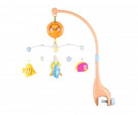 Музикална играчка въртележка за бебешко креватче и кошарка Chipolino, Весели рибки MILS02108MF