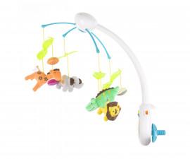 Музикална играчка въртележка за бебешко креватче и кошарка с дистанционно Chipolino, Зоопарк MILS02114ZO
