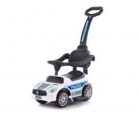 Кола за деца до 25кг с дръжка Chipolino Полиция, бяла ROCPL02001WH