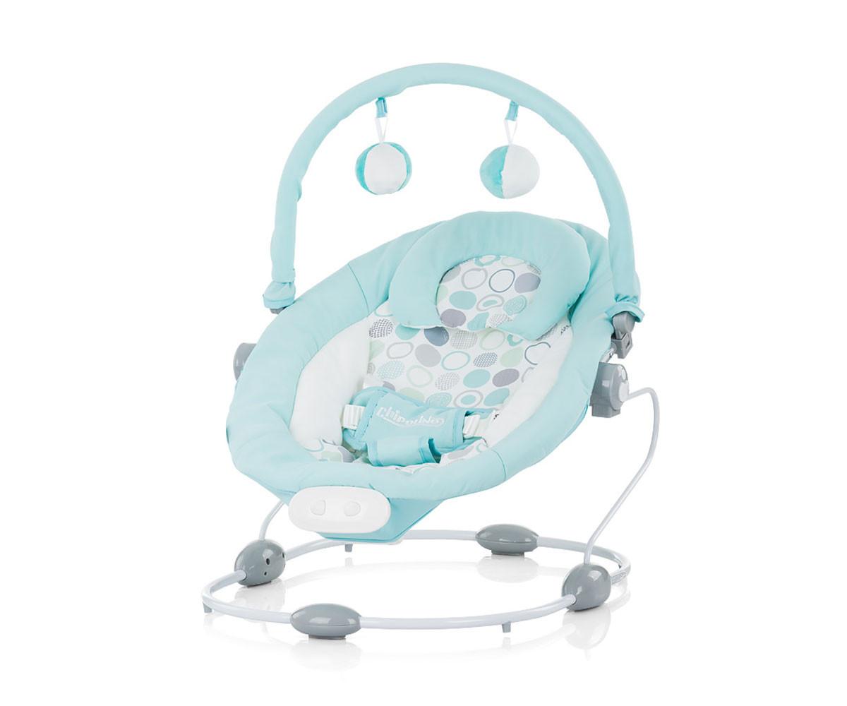 Музикален шезлонг за новородено до 9 кг Chipolino Сиеста, син SHES01901BL