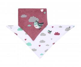 Двулицева триъгълна кърпа-лигавник Babyono, розово/бяло птиче, 2 броя 879/01