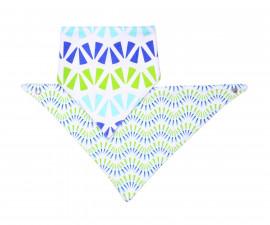 Двулицева триъгълна кърпа-лигавник Babyono, синьо/зелена, 2 броя 879/06