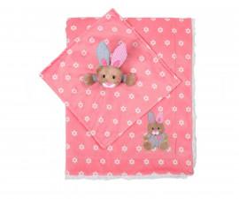Бебешко двуцветно одеяло Babyono, розово зайче 1412/01