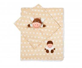 Бебешко двуцветно одеяло Babyono, бежова кравичка 1412/01