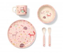 Детски комплект за хранене Babyono 1101/03, Forest pink, бамбук, 5 части 1101/03