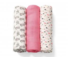 Пелениот бамбукBabyono, 3броя, розови алпака
