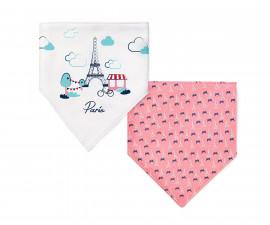 Двулицева триъгълна кърпа-лигавник Babyono, розова, 2 броя