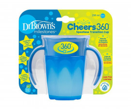 Детска чаша с дръжки Dr.Brown's TC71004-INTL, 200 мл, 360°, синя 72239314852