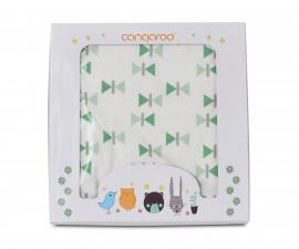 Одеяло от памук за бебета Cangaroo Mellow, зелено, 85 х 85 см 108055