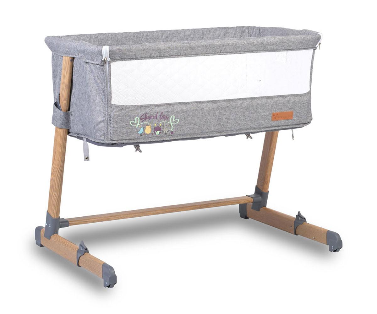 Легло за деца с подвижна страница Cangaroo Shared Love, сиво с дървен принт