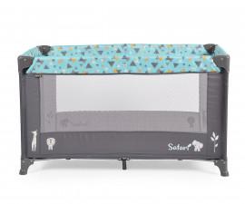 Бебешка кошара за спане и игра Cangaroo Safari new, синя/сива