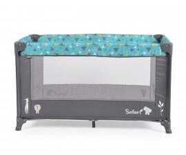 Бебешка кошара за спане и игра Cangaroo Safari new, тюркоаз/сива