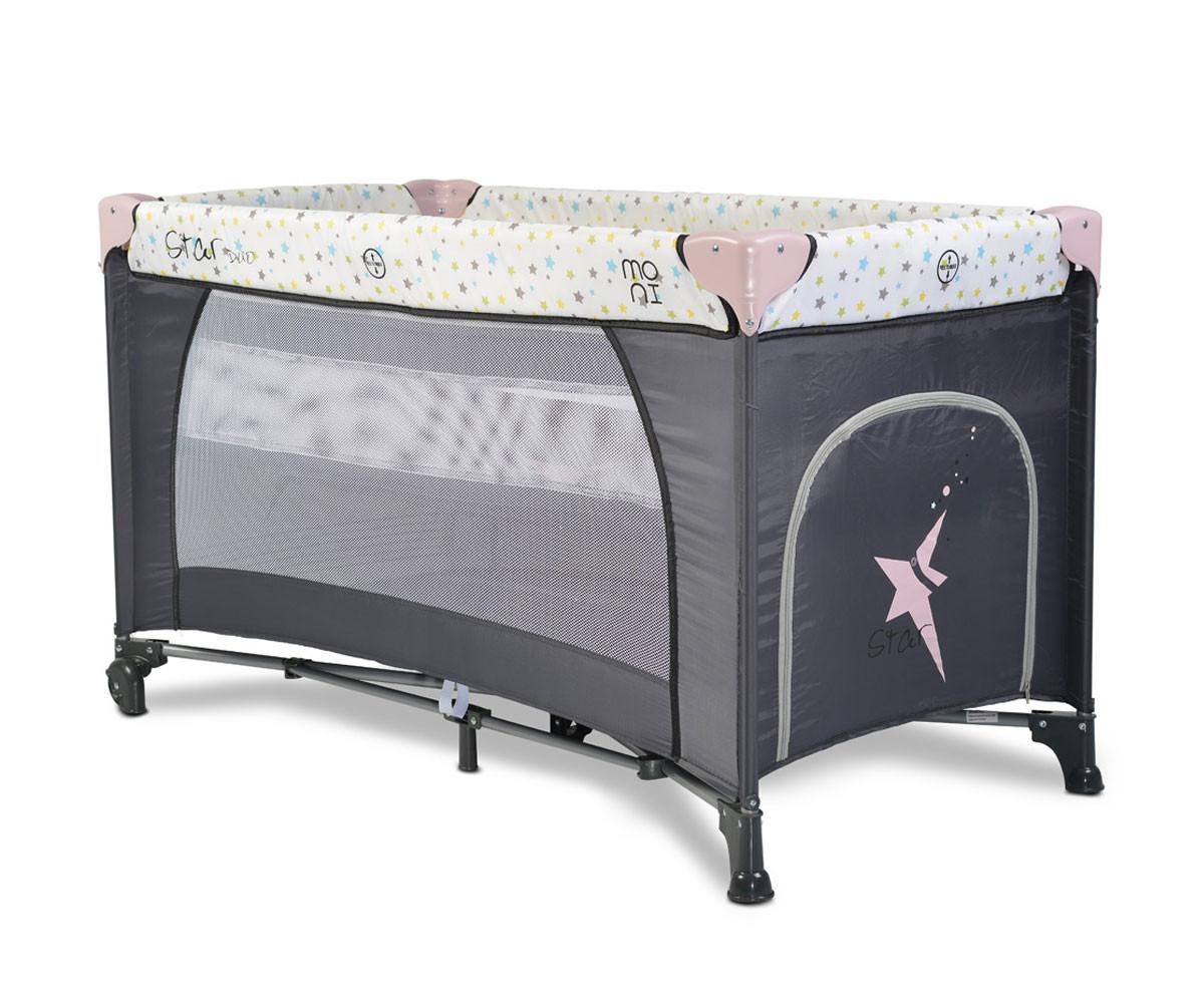Бебешка кошара за спане и игра Cangaroo Star Duo, розова