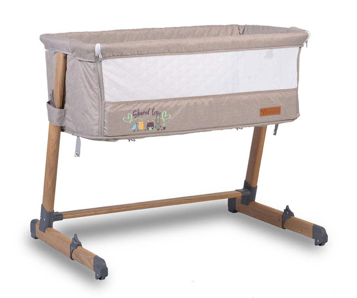 Легло за деца с подвижна страница Cangaroo Shared Love, бежово с дървен принт