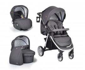 Комбинирана бебешка количка Cangaroo Noble 3в1, тъмно сива