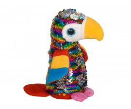 Плюшена играчка за деца - Папагал с пайети, 14см 2070-12