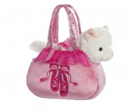 Детска играчка плюшено коте в розова чантичка