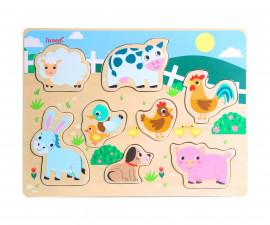 Детски пъзел от дърво, животни от фермата