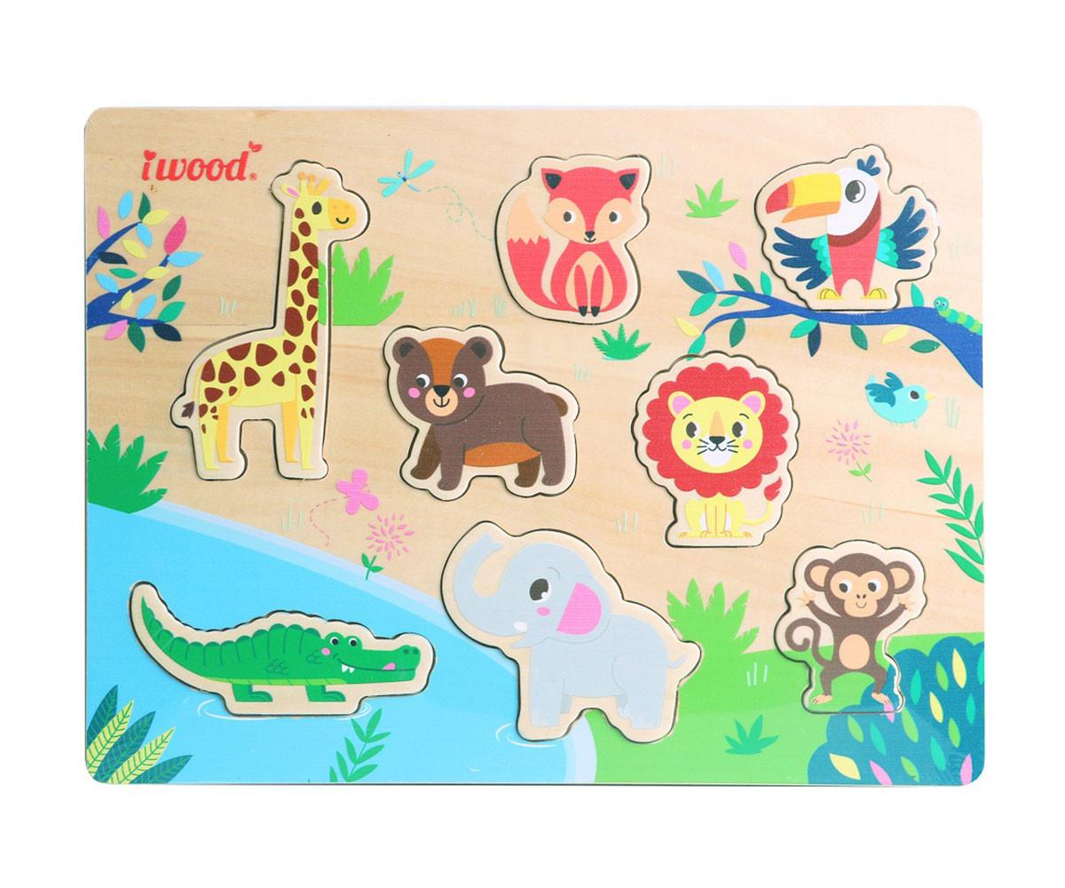 Детски пъзел от дърво, животни от джунглата
