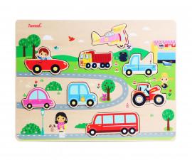 Детски пъзел от дърво, автомобили