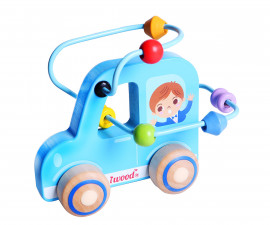 Детска играчка количка с лабиринт от дърво
