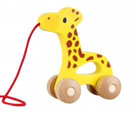 Детска играчка жирафче за бутане от дърво