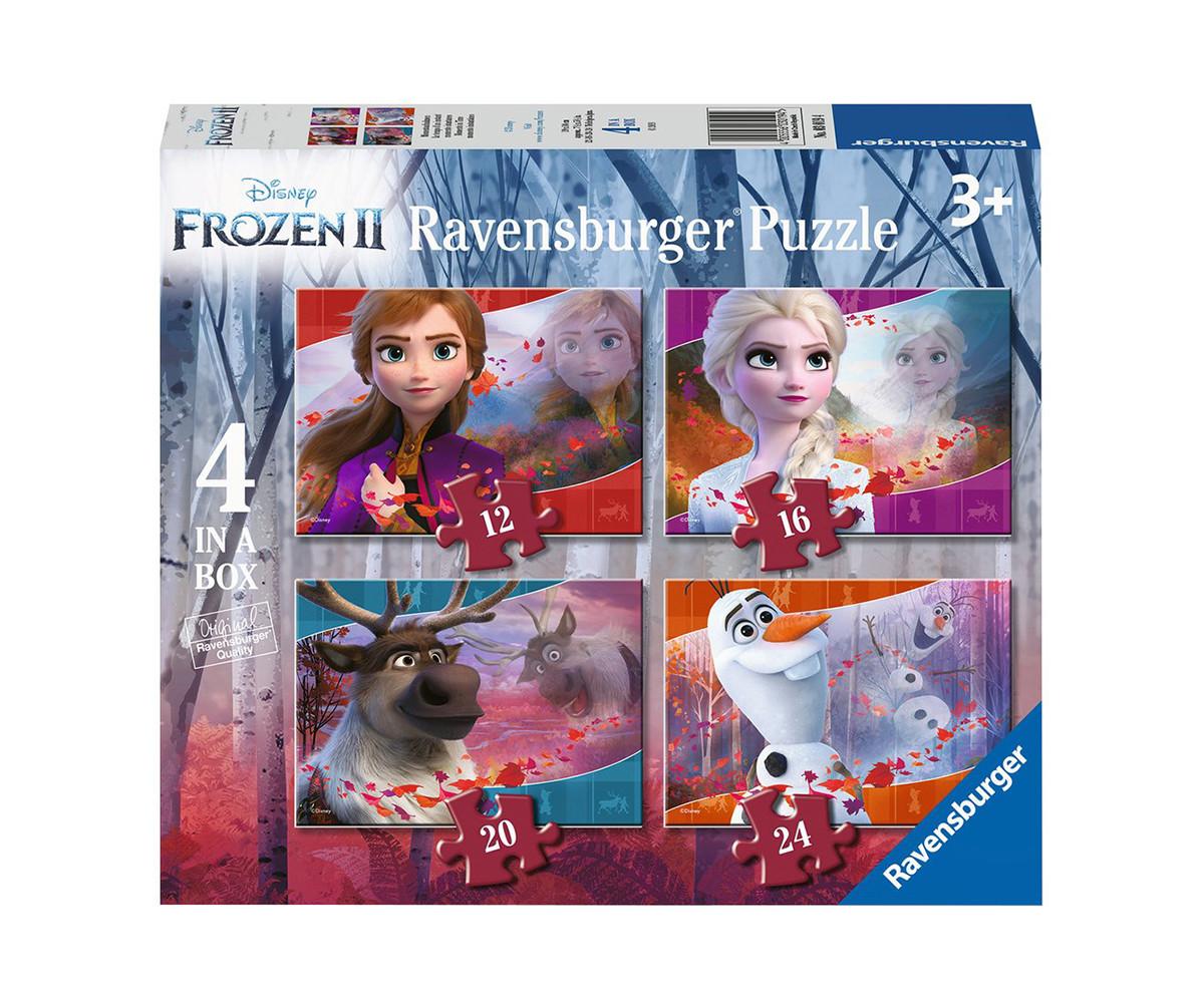 Детски пъзел Ravensburger 4-в-1 - Замръзналото кралство 2 - Елза, Анна, Олаф и Свен