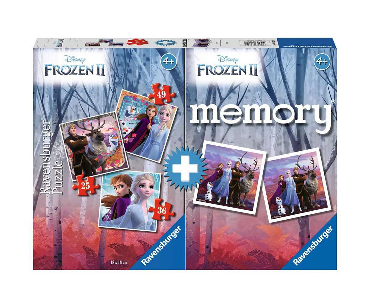Детски пъзел Ravensburger 3-в-1 + мемори - Замръзналото кралство 2