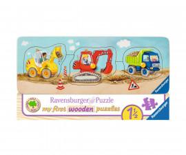 Ravensburger 03066 - детски дървен пъзел 3-5 ел. - Превозни средства на строителната площадка