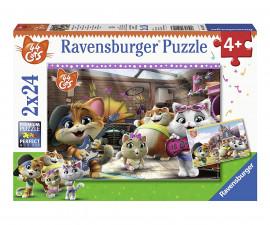 Детски пъзел Ravensburger 2х24 ел. - 44 котки правят музика