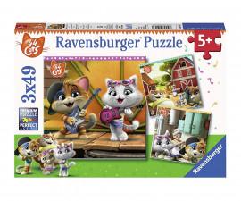 Детски пъзел Ravensburger 3х49 ел. - Добре дошли 44 котки