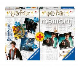 Детски пъзел Ravensburger 3-в-1 + мемори - Хари Потър