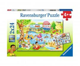 Детски пъзел Ravensburger 2х24 ел. - Забавление при езерото
