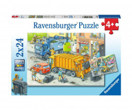 Ravensburger 05096 - Детски пъзел 2х24 ел. - Боклукчийски камион