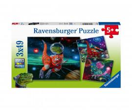 Ravensburger 05127 - Детски пъзел 3х49 ел. - Динозаври в космоса