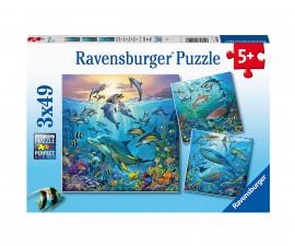 Ravensburger 05149 - Детски пъзел 3х49 ел. - Животински свят на океана