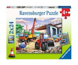 Ravensburger 05157 - детски пъзел 2х24 ел. - Строителство и автомобили