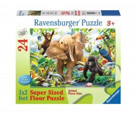 Ravensburger 05347 - Детски пъзел 24 ел. - Бебета животни в джунглата