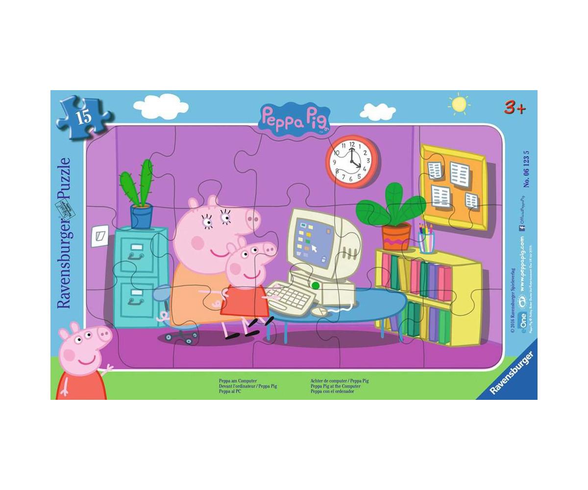 Ravensburger 06123 - детски пъзел 15 ел. - Peppa Pig, Пепа на компютър