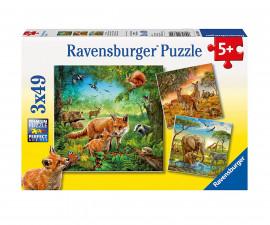 Ravensburger 09330 - Пъзел за деца 3х49 ел. - Животните на земята