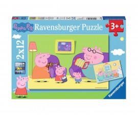 Ravensburger 07596 - детски пъзел 2x12 ел. - Peppa Pig, Пепа у дома