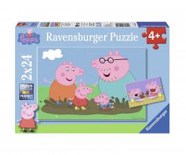 Ravensburger 09082 - детски пъзел 2x24 ел. - Peppa Pig, Щастливо семейство