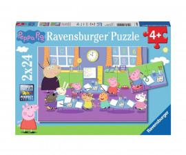 Ravensburger 09099 - Детски пъзел 2х24 ел. - Пепа Пиг в училище