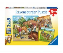 Детски пъзел Ravensburger 3х49 ел. - Ден с конете