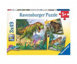 Ravensburger 09358 - Детски пъзел 3х49 ел. - Праисторически животни
