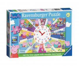 Ravensburger 09510 - Детски пъзел 60 ел. - Детски пъзел с часовник Пепа Пиг