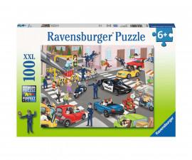 Ravensburger 10401 - Детски пъзел 100 ел. ХХL - Полицейски патрул