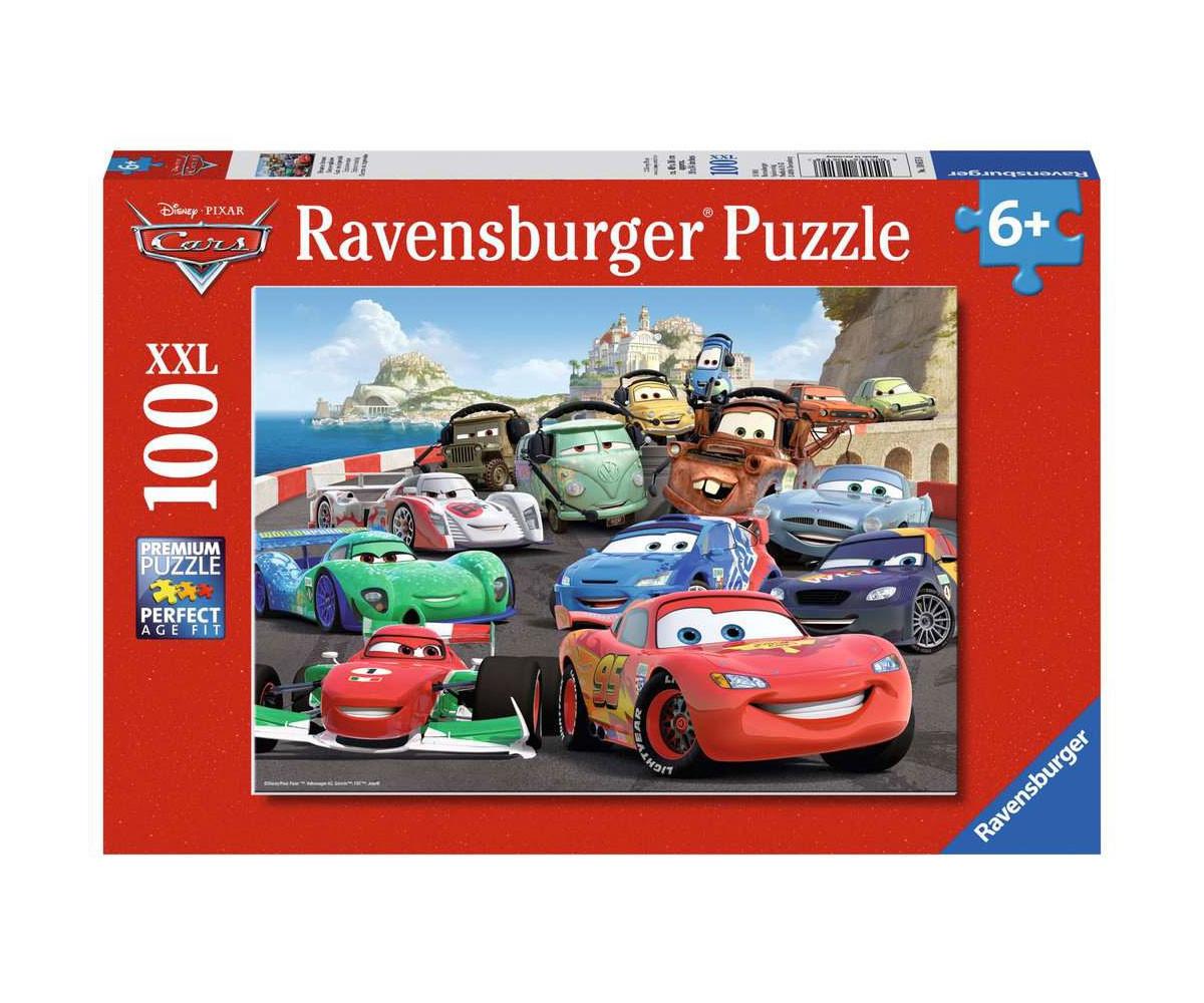 Пъзел за деца Ravensburger 100 XXL части - Колите: Експлозивни състезания