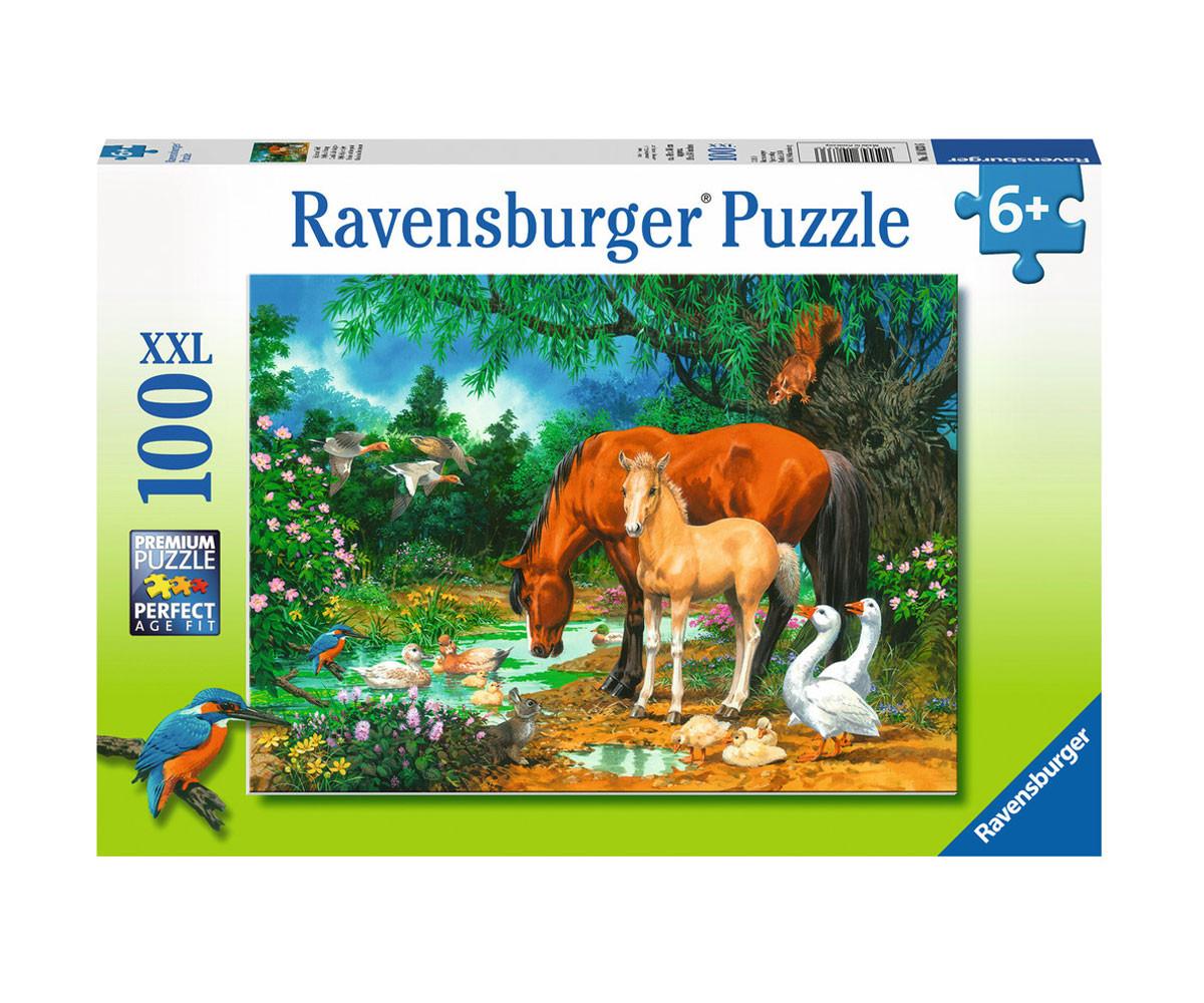 Пъзел за деца Ravensburger 100 ел. XXL - Понита на езерото